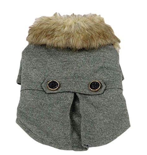 YiJee Cappotto Caldo Imbottito Dog Coat Abbigliamento Pets Cane Vestiti Invernale Costume Grigio S