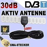 KFZ Digital Aktiv 30dB Antenne für DVB-T Auto TV Tuner/Receiver mit SMA Stecker 30 dB Signal Verstärker/Booster PKW LKW 12/24 Volt Car Hochgeschwindigkeit KFZ Klebe-Antenne 5 Volt für DVBT, Autoradios mit interne Stromversorgung