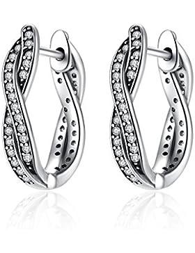 925 Sterling Silber Twist Von Schicksal Creolen Ohrringe mit Dazzling Cz Hochzeitstag Geschenk für Frauen