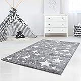 carpet city Kinderteppich Flachflor Hochwertig Bueno mit Konturenschnitt, Glanzgarn mit Sternen-Muster, Sterne in Grau, Größe 140x200 cm