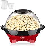 MVPOWER Macchina Pop Corn 800W, 5L Grande Capacità Elettrico Macchina per Popcorn con Rivestimento Antiaderente, Coperchio si Converte in una Ciotola, e Misurino, Senza BPA