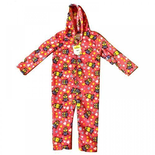 s Onesie Jumpsuit Hooded Coral Fleece Pyjamas Playsuit Kids Childrens Girls 3 Sizes (7-8 Years) by DESPICABLE ME MINIONS (Minion Onesies)