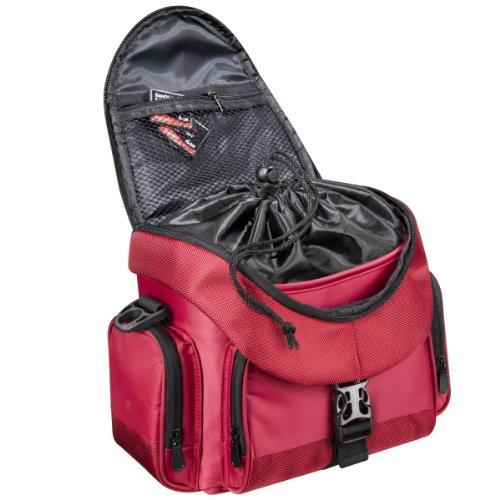 Mantona Premium DSLR-Kameratasche (inkl. Schnellzugriff, Staubschutz, gepolsteter Tragegurt und Zubehörfach) schwarz rot/schwarz