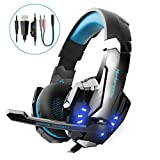 VTAKOL V9 Gaming Headset für PS4, 3.5mm Surround Sound Kabelgebundenes Headset mit Mikrofon, Buntes LED-Licht, Kopfhörer für Laptop, Mac, Xbox One, Tablet, PC, Smartphone