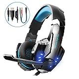 VTAKOL V9 Gaming Headset für PS4, 3.5mm Surround Sound Kabelgebundenes Headset mit Mikrofon, Buntes LED-Licht, Kopfhörer für Laptop, Mac, Xbox One, Tablet, PC, Smartphone