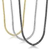 Jstyle 3er Edelstahl Panzerkette Halskette Damenkette Herrenkette Kette Farbegold Farbesilber Schwarz für Damen
