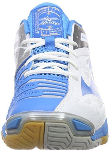 Mizuno  W Wave Stealth 3, Chaussures de handball femmes Blanc - Weiß (White/Silver/Diva Blue)
