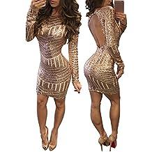 DOGZI Mujer Vestidos Moda Sexy Lentejuelas Espalda Abierta Cadera Vestido Vestido de la Cadera de Lentejuelas