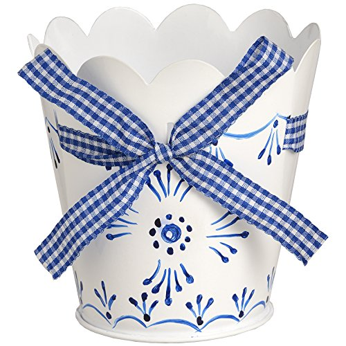 hill-interiors-blue-and-white-tin-indoor-planter-with-ribbon-detail-one-size-blue-white
