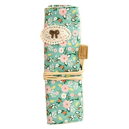 cosanter portapenne Portacolori Stilo Mappe pastorale piccolo fresco floreale tela rotolo matita tasche