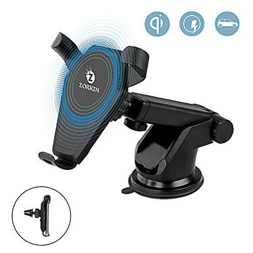 Zorkin Fast Wireless Charger drahtlos Ladegerät Qi Induktive Ladestation Auto KFZ Handyhalterung für iPhone X/8/8 Plus/Samsung Note8/S8/S8 plus/S7 Edge/S6 Edge und alle Qi fähige Geräte (Drahtlose X Moto Telefon-ladegerät)