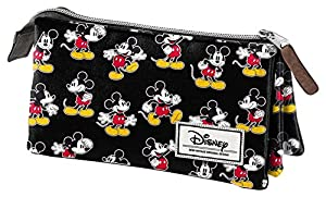 Mickey Mouse- Disney Classic Mickey Estuche portatodo Triple, Color Negro, 24 cm (Karactermanía 33611)
