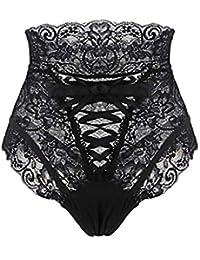 Grande Taille Sexy G-String Briefs Culotte Haute Taille en Dentelle Ouverte  à l  8d10913f13d