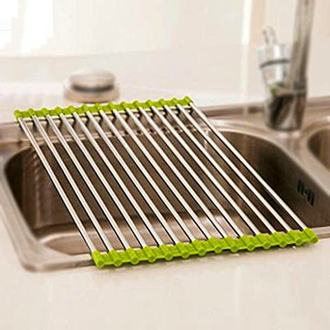 Liu Yu·kitchen home,Home kitchen stainless steel green drain rack insulation mat sink fruit and vegetable tableware drain rack 37 * 23cm