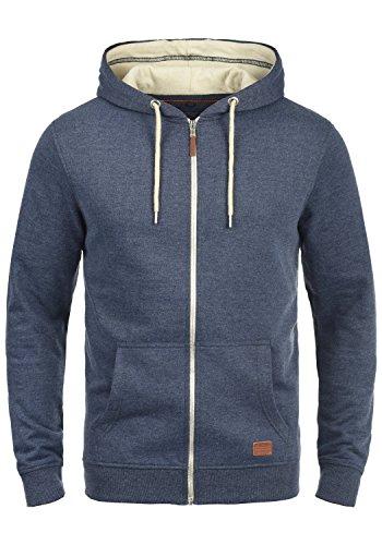 BLEND Hulker Herren Sweatjacke Kapuzen-Jacke Zip-Hood aus hochwertiger Baumwollmischung Meliert, Größe:3XL, Farbe:Navy (70230)