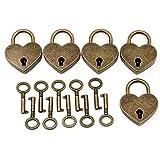 PsmGoods® d'antiquariato di stile Mini Lucchetti chiave di blocco a forma di cuore 5 Pack