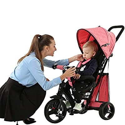 BGHKFF 4 In 1 Children's Hand Push Tricycle 1 To 6 Years 360° Swivelling Saddle 5-Point Safety Belt Children's Pedal Tricycle Adjustable Handle Bar Childrens Tricycles Maximum Weight 25 Kg,Red
