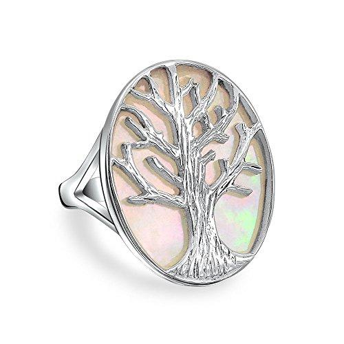 Bling Jewelry Große Aussage Oval Weiß Rainbow Abalone Muschel Natur Familie Baum des Lebens Ring Für Damen 925 Sterling Silber - Ring Damen Tank