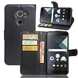 Wrcibo Blackberry DTEK 60 Hülle, Wrcibo Flip Case Cover PU Schutzhülle Tasche Leder Brieftasche Hülle mit Magnetverschluss und Karte Halter für Blackberry DTEK 60 (Schwarz)
