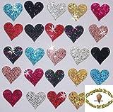 2Packungen = 48Stoff Pailletten 20mm Herzen zum Aufbügeln mehrfarbig