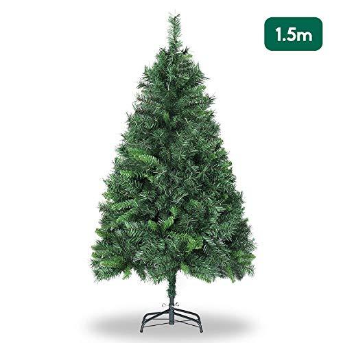 SALCAR Weihnachtsbaum künstlich 150cm mit 408 Spitzen, Tannenbaum künstlich Schnellaufbau inkl. Christbaum-Ständer, Weihnachtsdeko - grün 1,5m