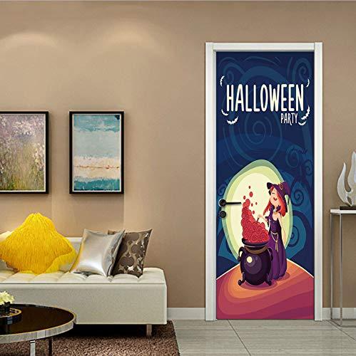 fenjinsheng Hexe Gift Neue 3D Horror Tür Aufkleber Abnehmbare Halloween Party Dekoration Wohnzimmer Decor DIY Festival Poster