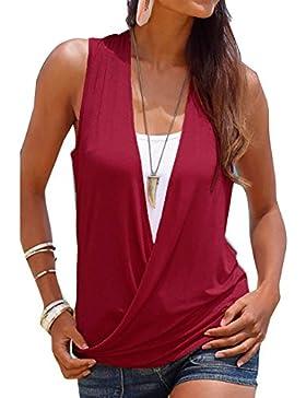 Yying 2 EN 1 Camisa Mujer Top de Verano Mujeres Camiseta Blusas con Cuello V Sin Mangas Contraste Color Adjusto...