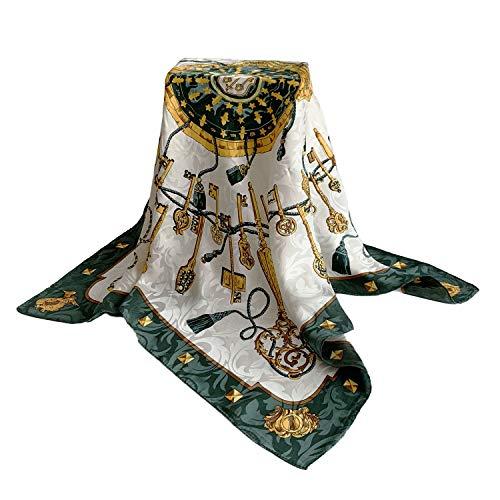 FELOVE 100% Seide Damen Schal Schals Schal Wraps Hair Wraps (Weißes grünes Gold) Satin Hair Wrap