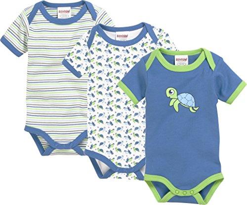 Schnizler Unisex Baby Body Kurzarm, 3er Pack Schildkröte, Oeko-Tex Standard 100, Blau (Original 900), 74 (Herstellergröße: 74/80)