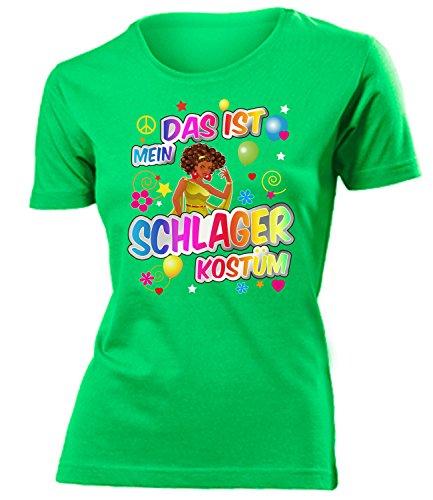 Schlager Kostüm Frauen T-Shirt Karneval Fasching Motto Schlager Party Geschenke Schlagertshirt Kleid Kleidung Schlagerhemd Schlagerfanartikel, Schlager 1628 Grün, (Party Kostüme Für Frauen)