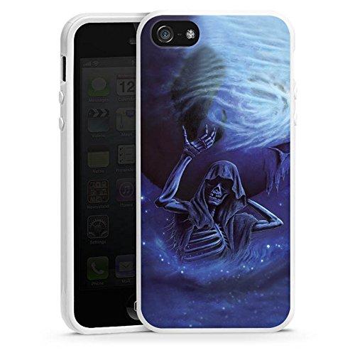 Apple iPhone 5s Housse Étui Protection Coque Crâne Os Tête de mort Housse en silicone blanc