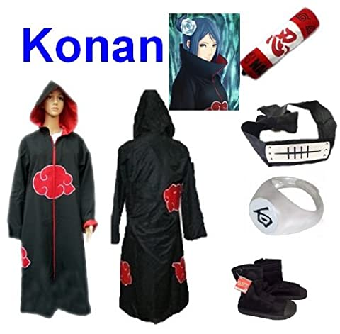 Naruto Akatsuki Konan Cosplay Kostüm Set (Akatsuki Cloak/Hat,Größe:XXL: Höhe 185cm-190cm + Konan Stirnband + Konan Ring + Naruto Federmäppchen + Ninja (Konan Cosplay Set)