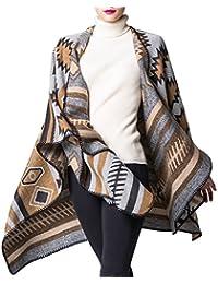 5557a21068c3 Mochoose Poncho et Cape Tricot Châle Plaid Écharpe Couverture Wrap Tartan  Chaude Hiver pour Femme
