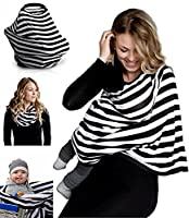 Nursing Breastfeeding Cover Scarf, Tecare Baby Car Seat Canopy, Shopping Cart, Stroller, Car seat Covers for Girls and Boys - Best Multi-Use Infinity Stretchy Shawl (black&white)