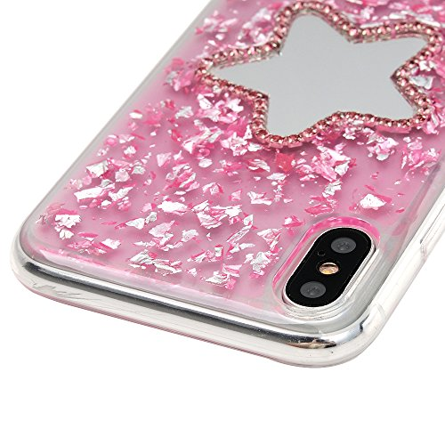 iPhone X Cover, Silicone e Bling Glitter Brillanti, Custodia Morbida TPU Flessibile Gomma - MAXFE.CO Case Ultra Sottile Cassa Protettiva per iPhone X - Torre Stella