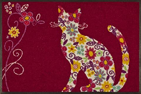 wash + dry - Tapis Flower Cat 50x75, Rouge