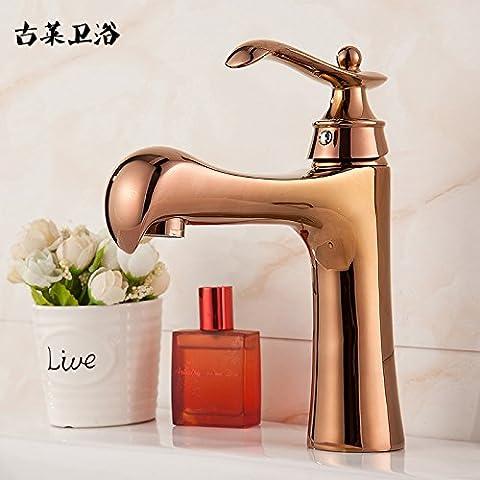 Tougmoo Toilettes robinet Toilettes robinet Continental Or rose doré Pots de robinets Cuivre Antique sur la scène sous Comptoir Lavabo, Or Rose Parrot