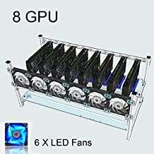 Tanli Open Air Mining Rig Stackable Frame 8 GPU Case With 6 LED Fans For ETH/ETC/ ZCash Silver