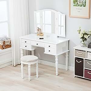 Mecor Nurxiovo Vanity Table Makeup Table White Dressing Tables Mirror Stool    Tri   Folding Mirror