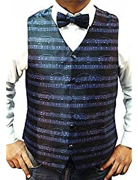 MEN'S QUALITY WEDDING MUSIC NOTES WAISTCOAT & BOW TIE SET WITH 3 DIFFERENT COLOURS***SAME DAY POSTING**