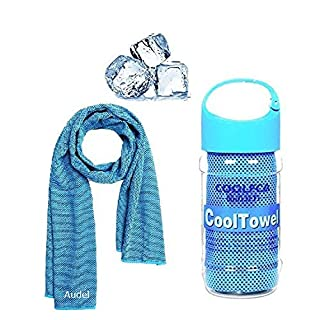 Cooling Towel, Audel Ice Cold Sports Sweat Towel for Instant Relief perfect for Cooling Scarf Neck ,Forehead, Wristband, Bandana, Stay Cool from Over Heating During All Kinds of Sports and Exercise