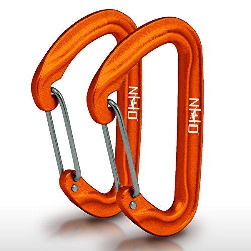 Nature's Hangout Draht-Karabiner (2er-Set) - Mini Aluminium leichte Biners - Am besten für Hängemattenaufhängung, zum Anklippen von Campingzubehör, Schlüsselanhänger und mehr. eloxiert, Orange -