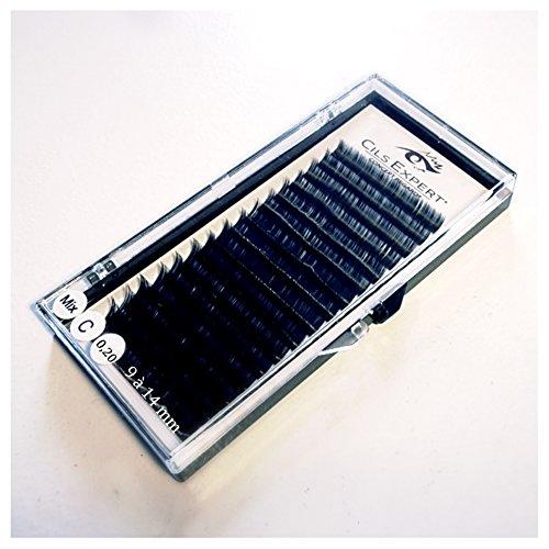 Plateau Extension de cils de soie noir C épais (0,20) mix de 9 à 14mm , 12 rangs
