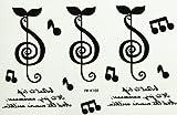 Conception Spestyle la mode des tatouages   temporaires de faux pour les hommes et les femmes notes de musique avec des lettres anglaises