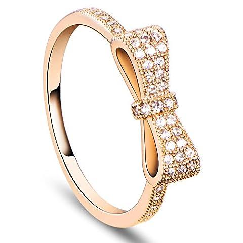 bowknot Schaumumwelt 18 k vergoldeten Messingfingerringe, mit Mikro pflastern AAAZircon, golden Ring Ringe Ringen