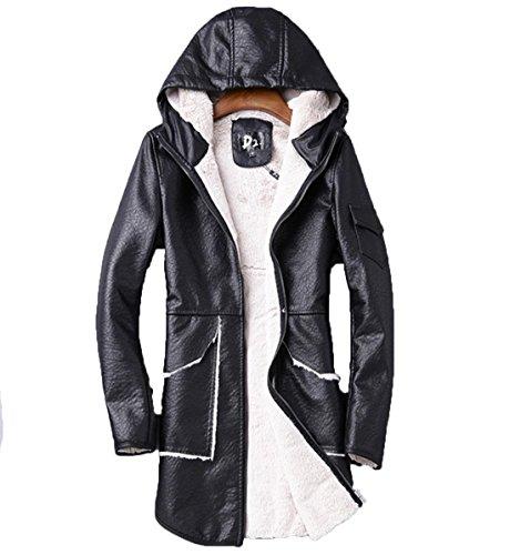 YCMDM nuovi uomini incappucciati del rivestimento di cuoio Pelliccia agnelli lana moda cappotto nero invernale L XL XXL 3XL , black , 4xl
