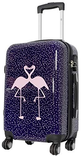 Trendyshop365 bunter Hartschalen Handgepäck Koffer - Flamingo Motiv - 57 Zentimeter 4 Rollen Tiermotiv