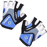 Inbike Herren Fahrradhandschuhe Mit Gel Fingerlos Kurz MTB Handschuhe Sommer(Blau-1,XL)