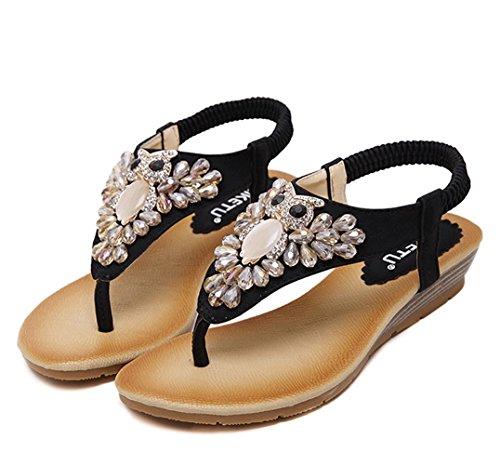 Minetom Damen Sommer Niedliche Strass Eule Dekoration Thong Sandalen Flache Clip Toe Flip Flops Strand Schuhe Schwarz