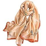 LD Foulard Femme Soie Polyester Écharpe Tissu Satiné Doux Art à la Mode Etole/Châle pour Demoiselles Soirée Mariage Plage 180 * 90 cm